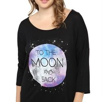 Plus Size Dolman Top with To the Moon and Back Screen