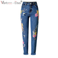 VARBOO_ELSA 2017 spring Europe hot sale Women Jeans High Waist Slim Straight cowboy pants colorful Floral Bird embroidery Jeans