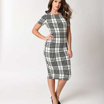 Unique Vintage 1960s Style Ivory & Black Plaid Knit Presley Wiggle Dress