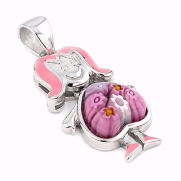 "Sterling Silver Glass Murano Millefiori Glass Pendant Girl With Dangling Pink Color Heart Body (Free 18"" Chain)"