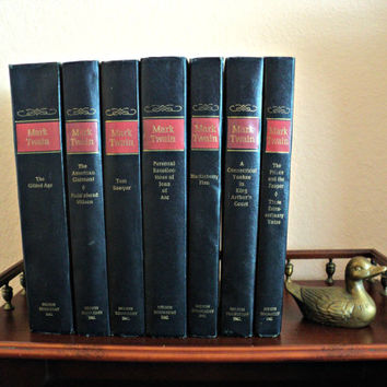 Mark Twain Vintage Book Collection Set of 7 The Complete Novels of Mark Twain aka Samuel Clemens Published by Doubleday Very Good Condition