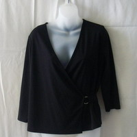 New George large black polyester 3/4 sleeve top with crossover front - Tops & Blouses