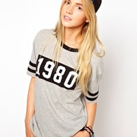 ASOS | ASOS Varsity Top with Stripe Sleeves and Numbers at ASOS