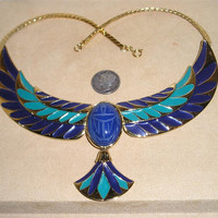 Vintage Jewel Of The Nile Egyptian Necklace With Blue & Green Enamel Carved Stone Scarab 1980's Signed Franklin Mint Jewelry 95