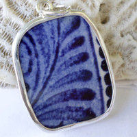 Broken China Necklace Pendant  Chaney Sterling Flow Blue Delft Leaves  Pendant  Fused Glass