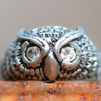 Jewel-Eyed Owl Ring Sterling Silver