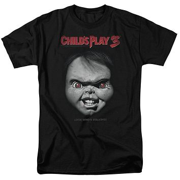 Childs Play T-Shirt Chucky Look Whos Stalking Black Tee