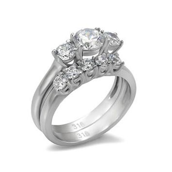 Love Honor Cherish - A Perfect Engagement Ring Set of Stainless Steel Cubic Zirconias