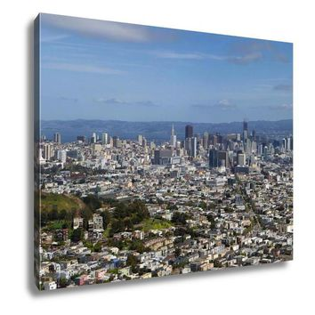 Gallery Wrapped Canvas, View Of San Francisco Downtown From Twin Peaks Panorama
