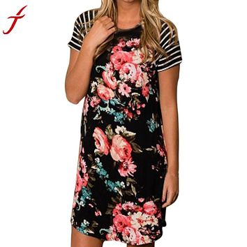 Women's Summer Dress Floral Printing Striped Short Sleeve Patchwork Dresses Casual Soft Cotton Mini Dress robe femme ete 2017