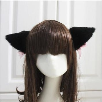 Free Shipping White/Black Fur Cat Fox Ear Hair Clip Bell Handband Headwear Party Ball Club