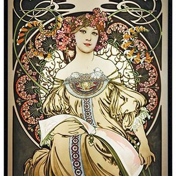 Reverie Lady Art Nouveau Stained Glass by Mucha 12H