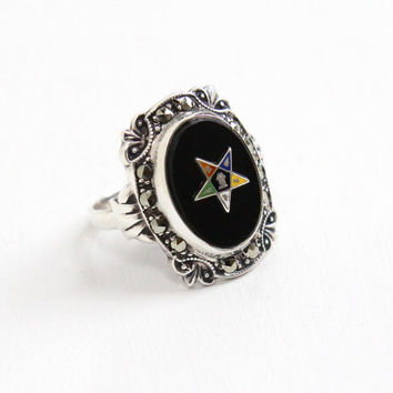 Vintage Sterling Silver Order of the Eastern Star Simulated Onyx & Marcasite Ring - 1930s Masonic Art Deco Size 6 Jewelry Hallmarked Uncas