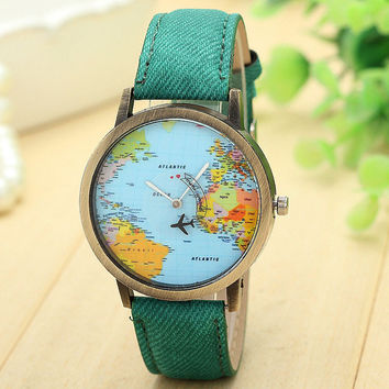 Splendid New Dress Watches Famous Global Travel By Plane Map Women Watch Denim Fabric Band Female Clock Hours Bracelet Relogio- Best Christmas Gift