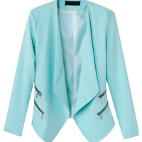 Blue Slim Zipper Decorative Blazer