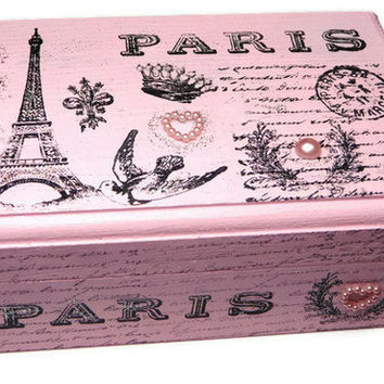 Pink Paris Keepsake Box, Jewelry Box, Keepsakes, Eiffel Tower, French