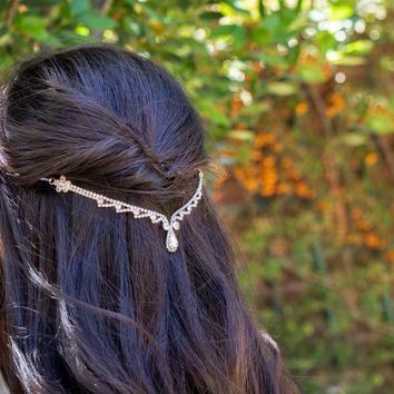 Silver Teardrop Hair Chain, Hair Vine