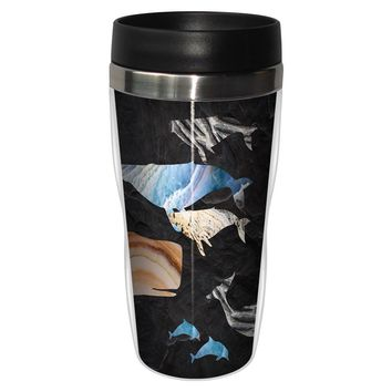 Whale And Dolphin Grouping Travel Mug - Premium 16 oz Stainless Lined w/ No Spill Lid