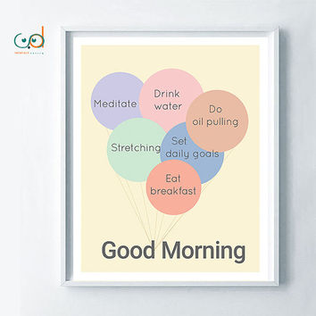 Morning Habits- Printable- Best things to do in the morning- Morning Inspiration- Wall Motivation Decor- Poster Goals- Motivational Print