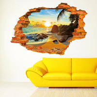 Sunshine Beach Resort 3D Wall View Vinyl Wall Stickers for Kids Living Room Removable Art Wall Decal Poster Sofa Wall Decoration
