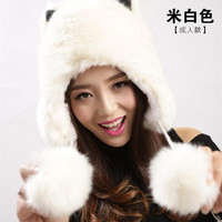 New Womens Kids Winter Faux Fox Fur Trapper Hats Thick Winter Warm Fox fur Ear Warmers with Cute Fur balls Free Shipping WH11