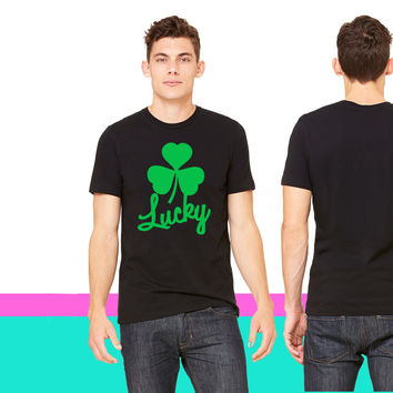 lucky St Patricks day shamrock clover T-shirt