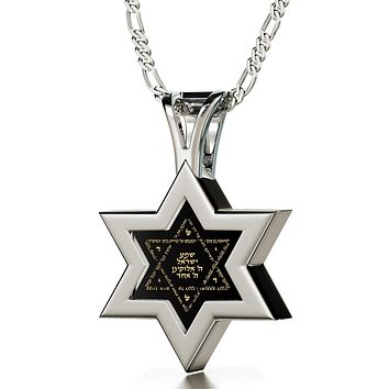 Star Of David Necklace 14K White Gold Onyx Star Of David Necklace Gold