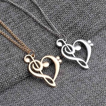 Music Note Note Symbol: Heart of Treble and Bass Clefs Infinity Love Charm Pendant Necklaces Unisex Jewelry