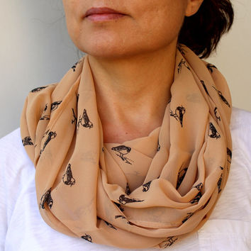 NEW ! Bird Scarf Spring Scarf Beige Buttercream Infinity Scarf Eternity Scarf Urban Outfit Scarf Fabric Solid Color  Loop Spring Scarf