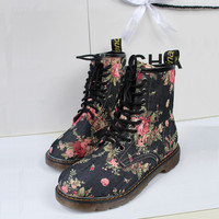 UK Style Flora Print Boots for Women