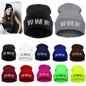 Winter Unisex Men Women's Hats Bad Hair Day Letter Print Snap Back Beanie bonnet femme gorro Knit Hip Hop Punk Sport Hat Ski Cap