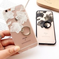 Simple Design Lace Floral Iphone Phone Case Apple Ring Soft Rack [8790238407]