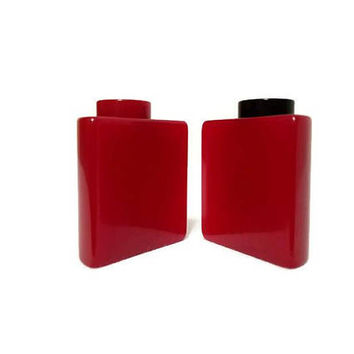 Art Deco Red Bakelite Salt and Pepper Shakers Half Circles Vintage Kitchen