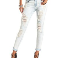 "Refuge ""Boyfriend"" Light Wash Destroyed Jeans - Lt Destroy Denim"