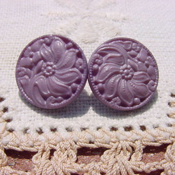 Dusty Lilac Floral Vintage Celluloid Buttons