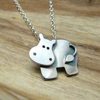 Sterling Silver Hippo Necklace with Gift Box - Animal Jewellery - hippopotamus