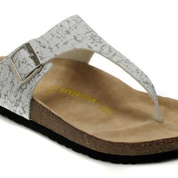 Birkenstock Leather Cork Flats Shoes Black And White Stripes Casual Sandals Soft Footbed Slippers