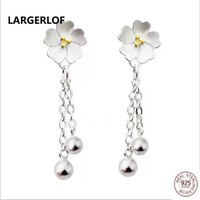 LARGERLOF Real 925 Silver Earrings For Women Fashion Jewelry Drop Earrings Earrings Flower  ED10229