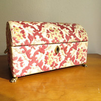 Vintage Upholstered Jewelry Box, Large Rose Pink Gold Footed Storage Box, Floral Ornate Fabric Keepsake Box