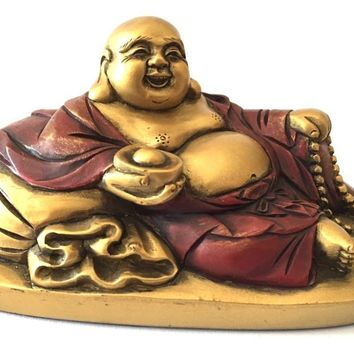 Happy Buddha Ho Tai Reclining on Candy Bag Miniature Statue 2.5H, Assorted Colors