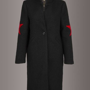 Black Long Winter Coat Jacket with Red Star Details