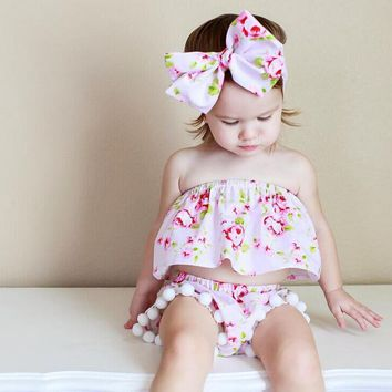 baby girls flowers pattern ruffles tops and pom pom shorts 2pcs clothes set +headband children little girls ins fashion outfit