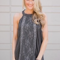 Sunset Lace Halter Tank Top- Charcoal