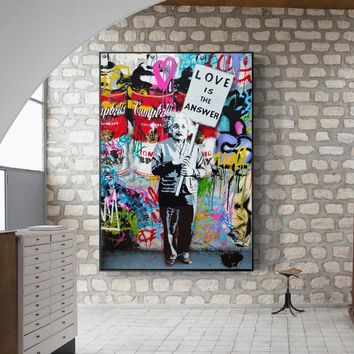 14f86a64278 Modern Pop Graffiti Wall Art Canvas Love Is The Answer Posters A