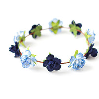 blue navy festival flower crown / rose floral crown, flower headband, wedding bridal, lana del rey, floral circlet, hair wreath.