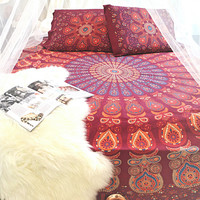 Red Tapestry Mandala Throw Bedspread / Wall Hanging