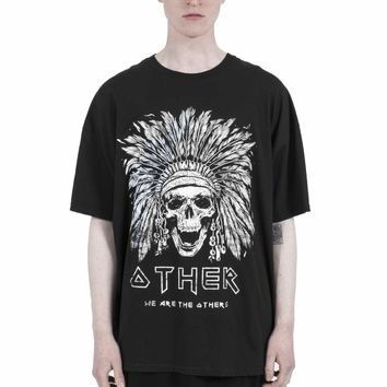 New High street Best version kanye west style FOG T-Shirt skeletons Indian Rock Pattern Printing Round collar Loose Backing shir