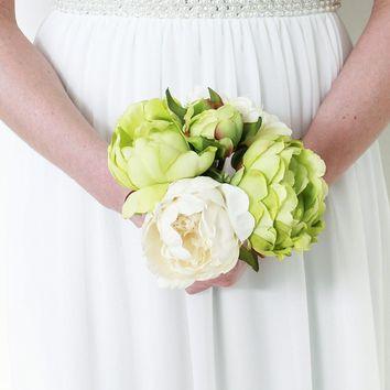 """Faux Peony Bouquet in Green and Cream 9.5"""" Tall"""