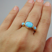 Blue Opal - Gold Rings - 14k Yellow Gold plated Over Brass - Gemstone Band Round Stone-Birthstone Rings - Bezel Rings-Mother's Day Gift