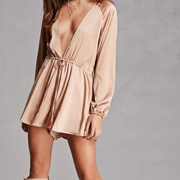 Plunging V-Neck Satin Romper